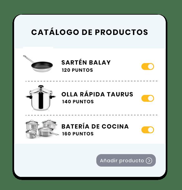 Catálogo productos para fidelizar